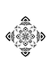 Black And White Geometric Abstract Mandala Ornament von Maggie B. Design