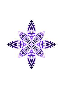 Purple Violet Blue Geometric Floral Leaves Ornament  von Maggie B. Design