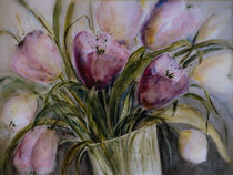 Pink tulips - rosa Tulpen in Vase by Chris Berger