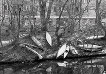 Boote am Kanal. von fischbeck