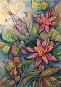 Prickly water lily 3 by Myungja Anna Koh