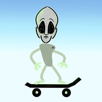 Alien On A Skateboard  by Vincent J. Newman