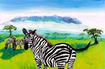 Zebras vor dem Kilimandscharo by Christian Seebauer