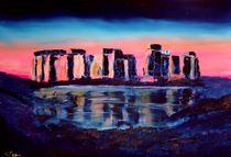 Stonehenge Ölgemälde, pink, blau von Christian Seebauer