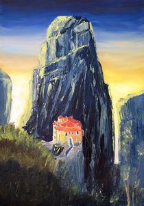 Meteora-Kloster in blau von Christian Seebauer