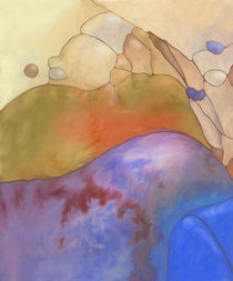 New Earth Abstract digital painted fantasy landscape in blue warm red and yellow by Christina Rahm