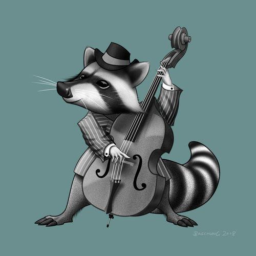 Racoon-musician-illustration