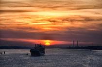 Sonnenuntergang auf der Elbe by Iris Heuer