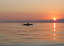 Swimmer in sunset with tropical colors. by ambasador