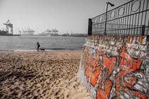 Strand-Blick Hafen Hamburg von gini-art