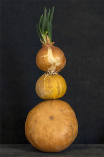 Still life with several pumpkins and sprouted onions by Valentin Ivantsov