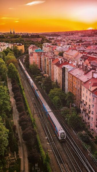 The-train-going-under-vysehrad-prague