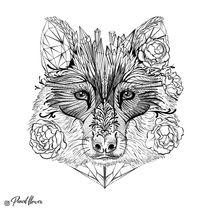 Floral Wolf von Natalja Andreyeva