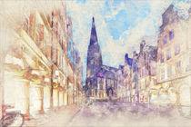 Münster – Prinzipalmarkt mit Lambertikirche in der Dämmerung von Münster Foto