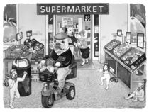 Outside the Supermarket by Barbara Daniels Art