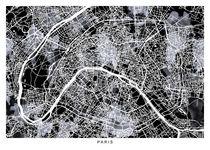 paris map b&w von Print Point