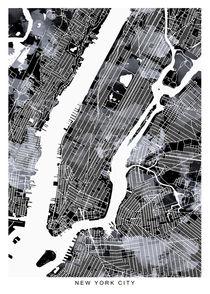 New York map b&w von Print Point