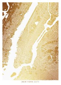 New York map gold von Print Point