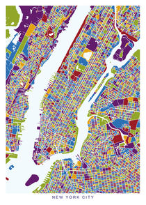 New York map pastel von Print Point