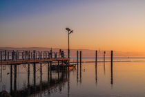 Bootsanleger von Moos auf der Halbinsel Höri im Morgenlicht - Bodensee von Christine Horn