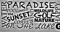 Wörter als Collage im Grauton by assy