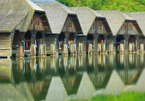 Bootshäuser am Königssee von Bernhard Kaiser
