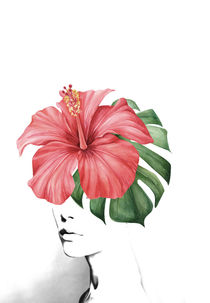 Hibiscus portrait collage by dreamyfaces