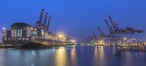 Containerhafen in Hamburg bei Nacht von Klaus Tetzner