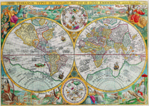 vintage World map, 1690 by dreamyfaces