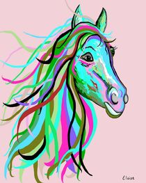 Teal and Pink Horse by eloiseart