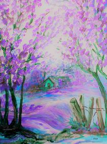 Pink Abstract Landscape with Trees and Cottage von eloiseart