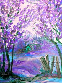 Purple Abstract Landscape with Trees by eloiseart