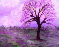 One Purple Tree Abstract Landscape von eloiseart