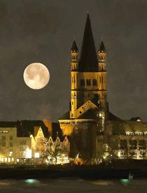 Köln, Groß St. Martin bei Nacht von Lothar R. Fanslau
