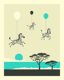 FLOCK OF ZEBRA by Jazzberry  Blue