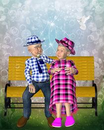 Oma und Opa auf Bank von Conny Dambach