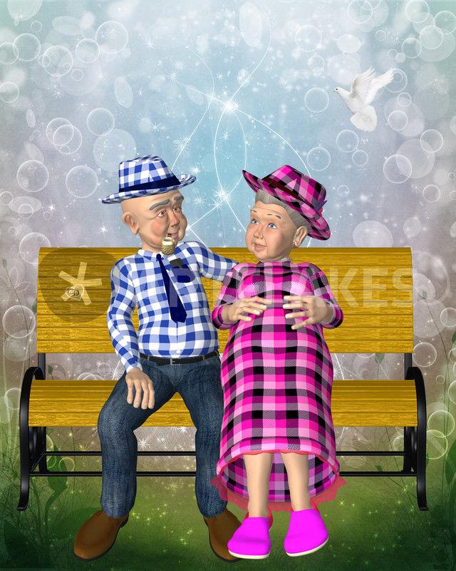 Oma Und Opa Auf Bank Grafikillustration Als Poster Und Kunstdruck