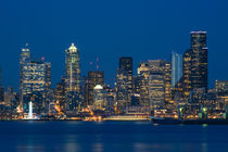 Seattle Skyline with City Lights by Jim Corwin