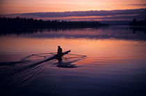 Crewman along Montlake Cut Sunrise by Jim Corwin