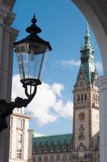 Blick auf das Hamburger Rathaus durch die Alsterarkaden von Thomas Sonntag