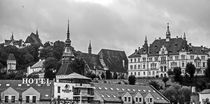 In the left is The church on the hill, down is Tinsmiths' Tower, in the right of it is Sighi?oara Clock Tower, near in right is The Monastery Church, in front is Ironsmiths' Tower, right The city hall of Sighisoara (from left to right)  by Enache Armand Iustinian