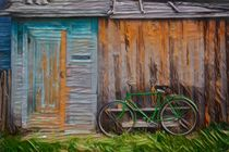 The Green Bike by the Door by David Frigerio