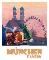 München Bayern Retro Travel Poster von M.  Bleichner