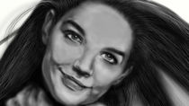 Katie Holmes Digital Airbrush by Jeff Roffey
