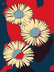 Blumen Poster Gänseblümchen rot blau WelikeFlowers von Robert H. Biedermann