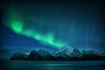"The ""green Lady Auroraurora hovering above Mt. Himmeltinden in Lofoten. by Stein Liland"