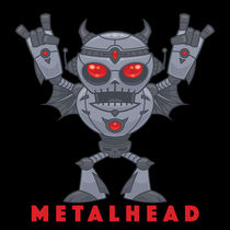 Metalhead - Heavy Metal Robot Devil - With Text von John Schwegel