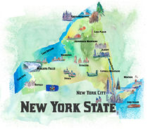 USA New York State Travel Poster Map with tourist highlights by M.  Bleichner
