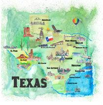 USA Texas Travel Poster Map With Highlights von M.  Bleichner
