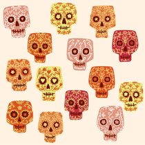 Dia de los Muertos Mexican Decorated Skull Art von Nic Squirrell